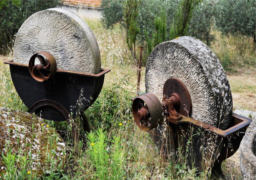 Ces deux grandes meules, actionnées à l'époque par la traction animale, servaient à la finition des meules et autres outils à aiguiser (coll. A. Rigo)