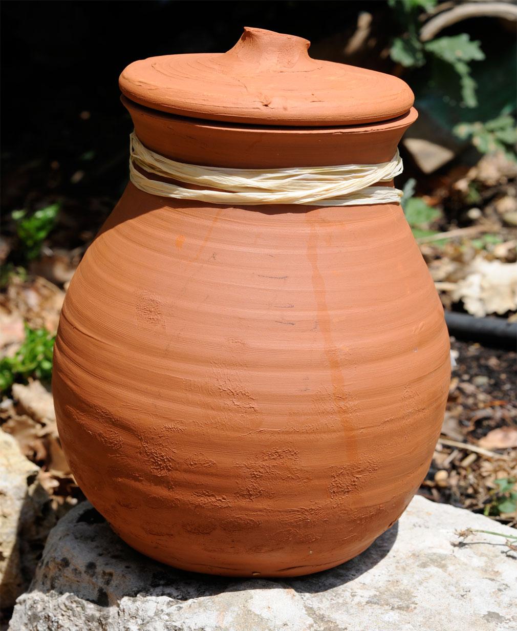 Les Oyas , une poterie poreuse remplie d'eau, placée au pied des plantes afin de diffuser lentement l'humidité nécessaire.